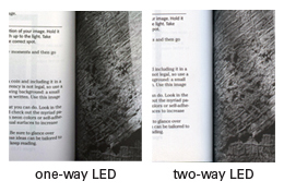Two-way LED light source decreases the shadows of images