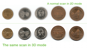SMA VersaScan 2D Versus 2.5D Scanning Sample of Coins